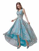 preiswerte Abendkleider-A-Linie V-Ausschnitt Asymmetrisch Spitze Kleid mit Applikationen durch JUDY&JULIA