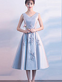 cheap Wedding Party Dresses-A-Line Jewel Neck Tea Length Satin Bridesmaid Dress with by