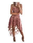 hesapli Mini Elbiseler-Kadın's Parti Seksi Dantelalar A Şekilli Elbise - Solid, Dantel Askılı Asimetrik Gül kurusu