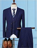 hesapli Takım Elbiseler-Siyah / Koyu Mavi / Gri Çizgili Kişiye Özel Kalıp Pamuklu Takım elbise - Çentik Tek Sıra Düğmeli İki Düğme