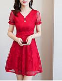 hesapli Mini Elbiseler-Kadın's Büyük Bedenler Dantelalar Kılıf Elbise V Yaka Diz üstü