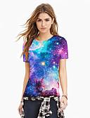 hesapli Tişört-Kadın's Tişört Desen, Galaksi / 3D / Grafik Mor