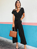 זול סרבלים ואוברולים לנשים-M L XL אחיד, סרבלים רגל רחבה שחור כחול נייבי יין סגנון רחוב בגדי ריקוד נשים
