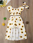 رخيصةأون مجموعات ملابس البيبي-مجموعة ملابس قطن قصيرة كم قصير بقع ورد رياضي Active للفتيات طفل