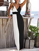 halpa Maksimekot-naisten maxi-vaippa mekko syvä v punastava vaaleanpunainen valkoinen s m l xl