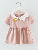 זול אוברולים טריים לתינוקות-שמלה כותנה עד הברך שרוולים קצרים טלאים / רקום פסים / טלאים פעיל / בסיסי בנות תִינוֹק / פעוטות