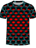 זול חולצות לגברים-גיאומטרי / 3D / גראפי טישרט - בגדי ריקוד גברים דפוס אודם