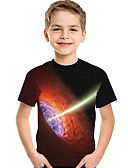 billige T-shirt-Børn Baby Drenge Aktiv Basale Geometrisk Trykt mønster Trykt mønster Kortærmet Polyester Spandex T-shirt Sort