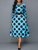 abordables Robes de Travail-Femme Basique Midi Gaine Robe Points Polka Bleu Vert Violet XXXL XXXXL XXXXXL Sans Manches