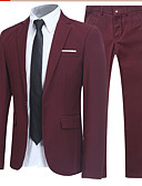 זול חליפות-שחור / כחול נייבי / אפור אחיד גזרה רגילה פוליסטר חליפה - פתוח Single Breasted One-button