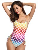 cheap One-piece swimsuits-Women's Basic Rainbow Triangle Thong One-piece Swimwear - Polka Dot Rainbow Embroidered Print M L XL Rainbow