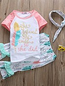 זול חולצות לתינוקות-סט של בגדים כותנה שרוולים קצרים דפוס גיאומטרי / דפוס פעיל / בסיסי בנות תִינוֹק / פעוטות