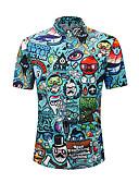 abordables Camisas de Hombre-Hombre Básico Estampado Camisa Bloques / Gráfico / Letra Amarillo L