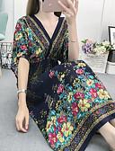 hesapli Kadın Elbiseleri-Kadın's Boho Kombinezon Elbise - Çiçekli Kabile, Boncuklar Kırk Yama Desen Maksi