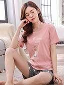hesapli Pijamalar-Yuvarlak Yaka Uyumlu İç Giyim Takımları Pijamalar Geometrik Kadın's
