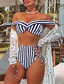 halpa Bikinis-Naisten Perus Uima-allas Rubiini Niskalenkki Korkea vyötärö Tankini Uima-asut - Raidoitettu M L XL Uima-allas
