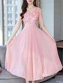 povoljno Ženske haljine-Žene Osnovni Čipka Šifon Haljina - Čipka Šljokice Vezeno, Jednobojni V izrez Midi Dusty Rose