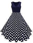 cheap Women-Women's Vintage A Line Dress - Polka Dot Floral Color Block Patchwork Print Navy Blue Rainbow Royal Blue XXXL XXXXL XXXXXL