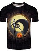 billiga Skjorta-Tryck, 3D / Tecknat Plusstorlekar T-shirt Herr Rund hals Svart