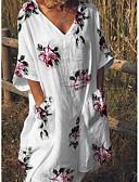 ieftine Print Dresses-Pentru femei De Bază Shift Rochie - Floral Imprimeu, Floral V Adânc Lungime Genunchi