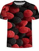 billige T-shirts og undertrøjer til herrer-Herre - Geometrisk / 3D / Frugt Trykt mønster T-shirt Rød XL