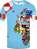 billige T-shirts og undertrøjer til herrer-Rund hals Herre - 3D Trykt mønster Plusstørrelser T-shirt Regnbue XXXL