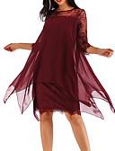 זול מחוכים ובוסטייה-עד הברך תחרה, אחיד - שמלה שיפון כותנה מידות גדולות בגדי ריקוד נשים