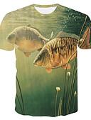 hesapli Tişört-Erkek Yuvarlak Yaka İnce - Tişört Desen, 3D / Hayvan Büyük Bedenler Yonca