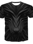 cheap Men's Tees & Tank Tops-Men's T-shirt - 3D / Animal / Cartoon Print Round Neck Black XXXXL