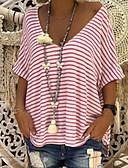 povoljno Majica-Veći konfekcijski brojevi Majica s rukavima Žene - Osnovni Kauzalni Prugasti uzorak V izrez Dungi Plava XXXL / Proljeće / Ljeto / Jesen / Zima
