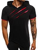 billige T-shirts og undertrøjer til herrer-Hætte Tynd Herre - Ensfarvet Bomuld, Patchwork Basale / Gade T-shirt Regnbue L / Kortærmet