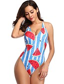 cheap One-piece swimsuits-Women's Basic Blue Bandeau Thong One-piece Swimwear - Striped Geometric Backless M L XL Blue