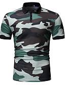cheap Men's Hoodies & Sweatshirts-Men's Polo - Camo / Camouflage Round Neck Blue