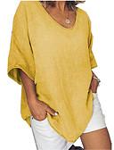 billige Skjorter til damer-Løstsittende V-hals Store størrelser T-skjorte Dame - Ensfarget Mørkegrå