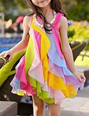 Χαμηλού Κόστους Φορέματα για κορίτσια-Παιδιά Νήπιο Κοριτσίστικα Γλυκός χαριτωμένο στυλ Ουράνιο Τόξο Patchwork Πολυεπίπεδο Δίχτυ Patchwork Αμάνικο Ασύμμετρο Πολυεστέρας Φόρεμα Φούξια