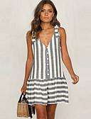 hesapli Mini Elbiseler-Kadın's Temel A Şekilli Elbise - Çizgili Diz üstü