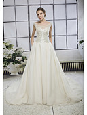 cheap Wedding Dresses-A-Line Bateau Neck Cathedral Train Lace / Tulle Made-To-Measure Wedding Dresses with Beading / Appliques / Lace by ANGELAG