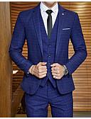 זול ז'קטים-בורגנדי / אפור / נייבי כהה מְשׁוּבָּץ גזרה מחוייטת פוליאסטר חליפה - פתוח Single Breasted One-button