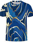 preiswerte Exotische Herrenunterwäsche-Herrn 3D / Grafik Übergrössen Baumwolle T-shirt, Rundhalsausschnitt Druck Blau XXXXL