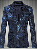 abordables Camisas de Hombre-Hombre Blazer, Geométrico Cuello Camisero Poliéster Azul Marino / Wine XXXXL / XXXXXL / XXXXXXL
