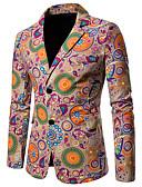 billige Herreblazere og jakkesæt-Herre Blazer, Geometrisk / Regnbue Hakrevers Bomuld / Hør Regnbue XXL / XXXL / XXXXL