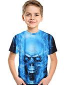 abordables Conjuntos de Ropa para Niño-Niños Bebé Chico Activo Básico Estampado Estampado Manga Corta Poliéster Licra Camiseta Azul Piscina