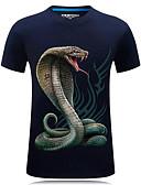 hesapli Erkek Tişörtleri ve Atletleri-Erkek Yuvarlak Yaka Tişört Desen, 3D / Hayvan Büyük Bedenler Siyah