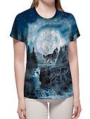 billige T-shirt-Dame - Farveblok / 3D / Dyr Trykt mønster Basale / overdrevet T-shirt Blå