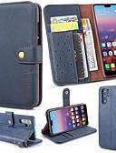 זול מגנים לטלפון-מגן עבור Huawei Huawei P20 / Huawei P20 Pro / Huawei P20 lite ארנק / מחזיק כרטיסים / עם מעמד כיסוי מלא אחיד קשיח עור אמיתי
