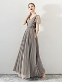 זול שמלות שושבינה-גזרת A צווארון V עד הריצפה טול שמלה לשושבינה  עם חרוזים על ידי LAN TING Express