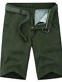 tanie Męskie spodnie i szorty-Męskie Podstawowy Szczupła Szorty Spodnie - Solidne kolory Bawełna Szary Zieleń wojskowa Khaki 34 36 38