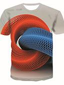 abordables Camisetas y Tops de Hombre-Hombre Tallas Grandes Estampado Camiseta, Escote Redondo Geométrico / 3D / Gráfico Rojo XXL