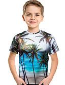 abordables Conjuntos de Ropa para Niño-Niños Bebé Chico Activo Boho Geométrico Estampado Estampado Manga Corta Poliéster Licra Camiseta Azul claro
