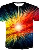 billige T-shirts og undertrøjer til herrer-Rund hals Herre - 3D / Regnbue Trykt mønster Plusstørrelser T-shirt Navyblå XXXXL